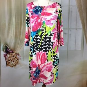 Tiana B. Floral Print Long Sleeved Dress